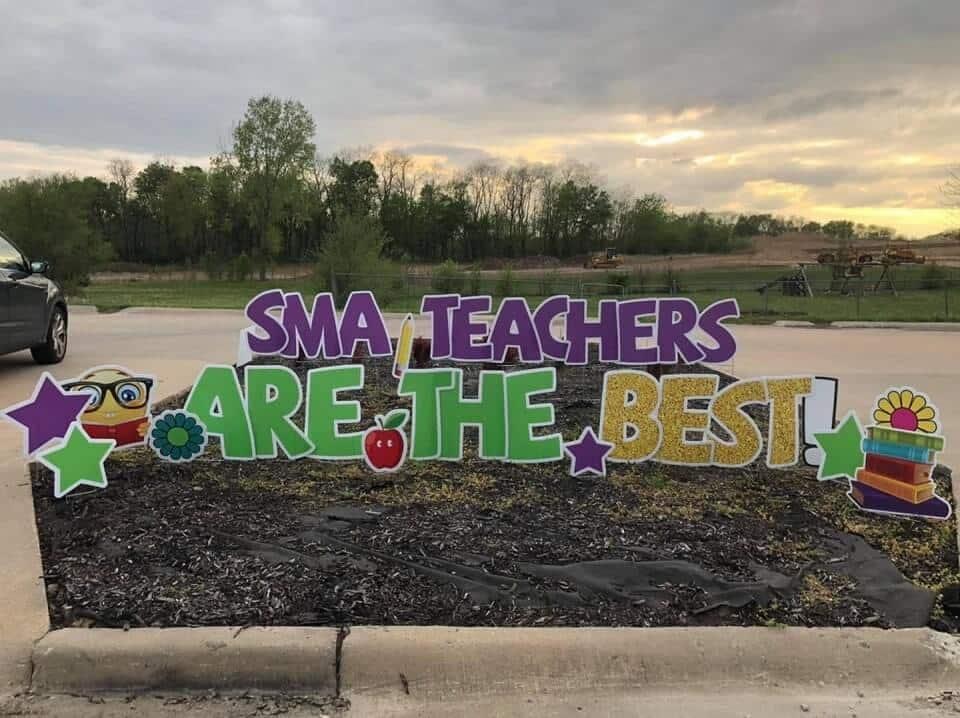 teachers yard sign